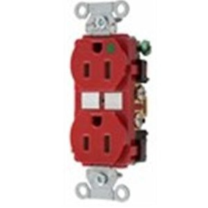 Hubbell-Kellems 8200RED Hospital Grade Duplex Receptacle, 15A, 125V, 5-15R, Red