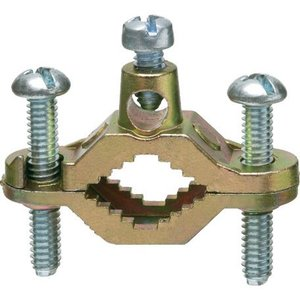 "Arlington 720S Ground Clamp, Water Pipe: 1/2 - 1"", Wire Range: 8 - 2 AWG, Brass"