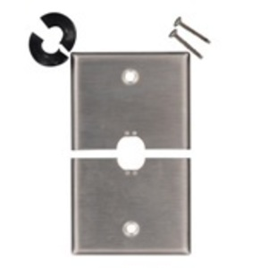 "Leviton S751-N Phone/Cable Split Wallplate, 1-Gang, .625"" Hole, 302 SS"