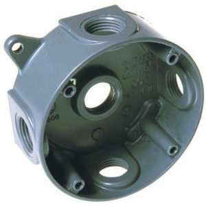 "Hubbell-Raco 5361-0 WP Round Box, 4"", Depth: 1-1/2, (5) 1/2"" Hubs"