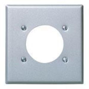 """Leviton S701-40 Power Outlet Wallplate, 2-Gang, (1) 2.465"""" Hole, Stainless Steel"""