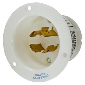 Hubbell-Wiring Kellems HBL2425 LKG FLG-INLT, 20A 3P 250V, L15-20P, WH