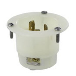 Leviton 7556-G 15 10A 125 250V FLANGED INLET GRND *** Discontinued ***