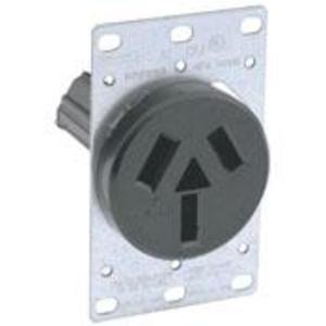 Leviton 5206 50 Amp Flush Mount Receptacle, 125/250V, 10-50R, 3P3W, Non-Grounding
