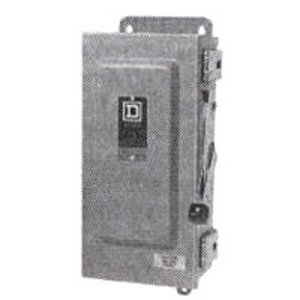 Square D H322NRB Disconnect Switch, Fusible, NEMA 3R, 60A, 3P, 240VAC, Neutral