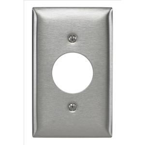 "Hubbell-Bryant SS7 1-Gang Single Rcpt Wallplate, (1) 1.406"" Hole, 302 S. Steel"