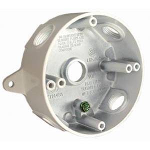 "Hubbell-Raco 5361-6 Weatherproof Round Box, (5) 1/2"" Hubs, Die Cast Aluminum"