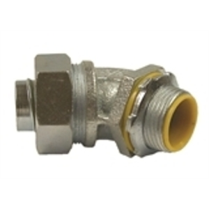 "Hubbell-Raco 3562 Liquidtight Connector, 45°, 1/2"", Insulated, Malleable Iron"