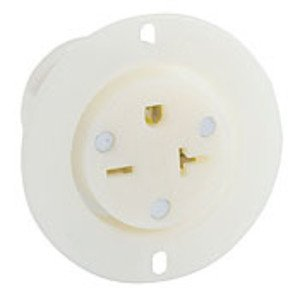 Leviton 5479-C 20A Flanged Outlet, 250V, 6-20R, Nylon, White, Industrial Grade