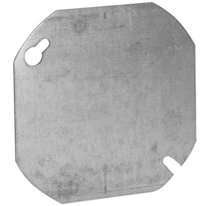 "Hubbell-Raco 722 4"" Octagon/Round Box Cover, Blank, Metallic"