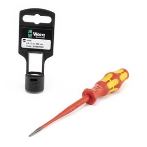 "Wera Tools 05100115001 Slim Line Blade Slotted Screwdriver, 5/32""-4"", Slim Shaft"