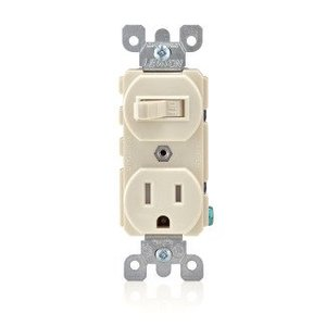 Leviton T5225-T Combination Toggle Switch / Receptacle, 15A, Light Almond