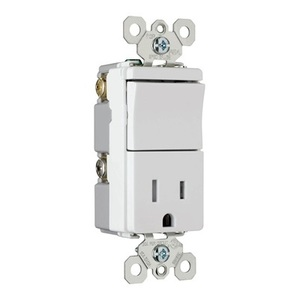 Pass & Seymour TM838-TRWCC 3-Way Switch / Receptacle Combo, 15A, White *** Discontinued ***
