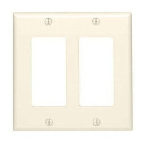 Leviton 80409-T Decora Wallplate, 2-Gang, Thermoset, Lt. Almond