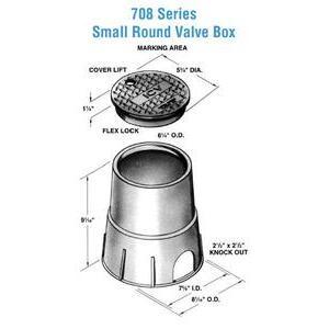 "Oldcastle Precast 0708-9-BLK-GRN-ELECTRIC Round Pull Box, Diameter: 6-1/8"", Depth: 8-3/4"", Polyethylene"