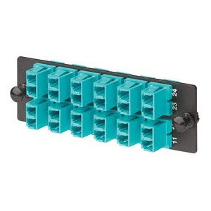 Panduit FAP12WAQDLCZ LC Fiber Adapter Panel, 10Gig, 12 Duplex Multimode Adapters, Aqua