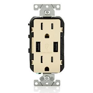 Leviton T5632-I Combination USB Charger / Decora Duplex Receptacle, 15A, 125V, Ivory