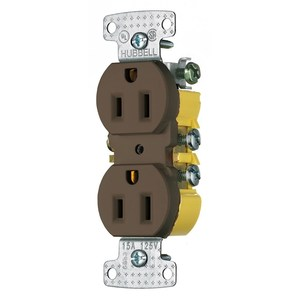 Hubbell-Wiring Kellems RR15 RESI DUP RCPT, 15A 125V, PUSH TERM, BR