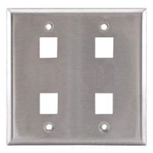 Hubbell-Premise SSF204 PLATE, WALL,SS,2-G,4PORT