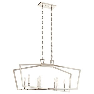 Kichler 43494PN Chandelier, 8-Light, Linear, 60 Watt, Polished Nickel