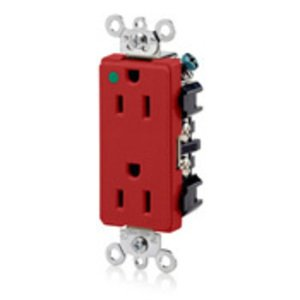 Leviton 16262-HGR Hospital Grade Decora Duplex Receptacle, 15A, 125V, 5-15R, Red