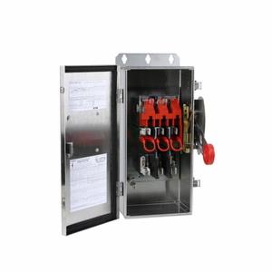 Eaton DH361FWK316 Safety Switch, 30A,3P,600V/250DC, HD Fusible, NEMA 4X, 316 SS