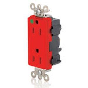 Leviton M1626-HGR Hospital Grade Decora Duplex Modular Receptacle, 15A, 125V, Red