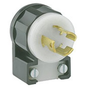 Leviton 4720-CA Locking Plug, Angled, 15A, 125V, 2P3W, Grounding, Black/White