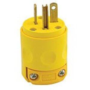 Leviton 520PV 20 Amp Plug, 125V, 5-20P, PVC, Yellow, Commercial Grade