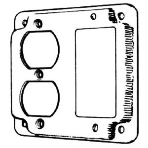 """Mulberry Metal 11435 4"""" Exposed Work Cover, (1) Duplex, Receptacle (1) Decora/GFCI"""