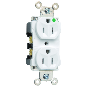 Hubbell-Kellems 8200W Hospital Grade Duplex Receptacle, 15A, 125V, 5-15R, White *** Discontinued ***