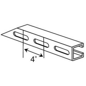 "Superstrut A1200S-20PG Channel, Slots, 1-5/8"" W x 1-5/8"" D x 20' Long, Steel, Pre-Galvanized"