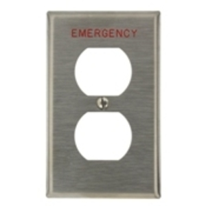 "Leviton 84003-E40 Duplex Receptacle Wallplate, 1-Gang, Stamped ""Emergency"", Stainless Steel"