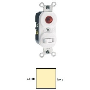 Leviton 5246-I 3-Way Toggle / Neon Pilot Combination Switch, 15A, 120V, Ivory