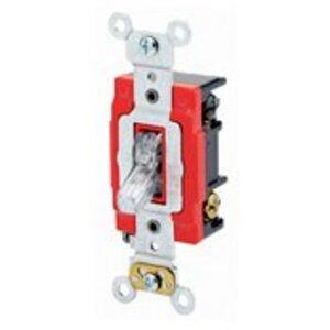 Leviton 1223-PLC 3-Way Pilot Light Toggle Switch, Clear