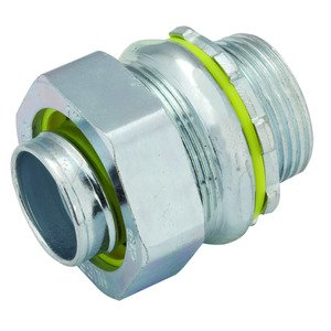"Hubbell-Raco 3406 Liquidtight Connector, Straight, 1-1/2"", Malleable Iron"