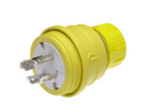 Woodhead 28W76 Locking Plug, 30A, 3PH 480V, 3P4W, Wetguard