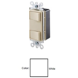 Leviton 1754-ILW Illuminated Dual Rocker Switch, 15A, 120V Switches
