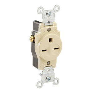 Leviton 5029-I 15 Amp Single Receptacle, 250V, 6-15R, Ivory, Commercial Grade