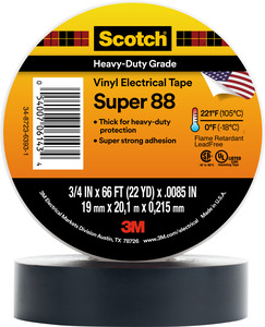 "3M 88-SUPER-3/4X66FT Professional Electrical Tape, Black, 3/4"" x 66', 8.5 mil"