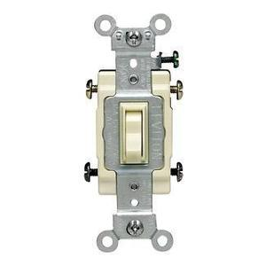 Leviton 54504-2T 4-Way Framed Toggle Switch, 15A, 120/277V, Lt Almond, Commercial