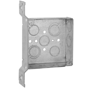 "Hubbell-Raco 196 4"" Square Box, Welded, Metallic, 1-1/2"" Deep, FS Bracket"