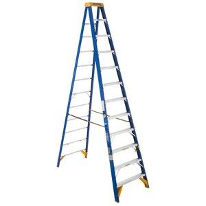 Werner Ladder OBEL12 12' Job Station Step Ladder, Type IAA, 375 lbs