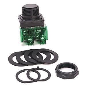 Allen-Bradley 800HC-AR2D1 Push Button, Flush Head, Black, NEMA 4/4X/13, Guarded Terminals