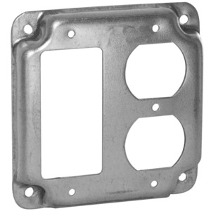 """Hubbell-Raco 915C 4"""" Square Exposed Work Cover, (1) Duplex Receptacle, (1) Decora/GFCI"""