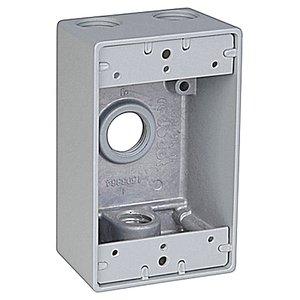 """Red Dot IH4-1 Weatherproof Outlet Box, 1-Gang, 2"""" Deep, (4) 1/2"""" Hubs, Aluminum"""