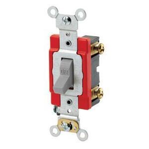 Leviton 1221-2GY Single-Pole Toggle Switch, 20A, 120/277V, Gray, Industrial Grade