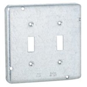 "Hubbell-Raco 881RAC 4-11/16"" Square Exposed Work Cover, Type: (2) Toggle, Steel"