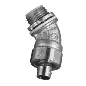 "Appleton 4QS-4150 Liquidtight Connector, 45°, Size: 1-1/2"", Malleable Iron"