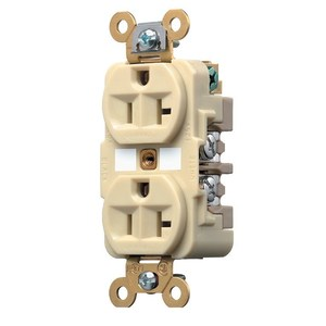 Hubbell-Kellems 5362W Duplex Receptacle, 20A, 125V, White, 5-20R